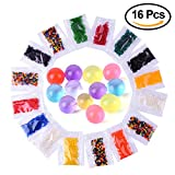 Kuuqa 16 Pack 12 Colors Water Beads Gel Beads Crystal Gel Water Pearls Water Growing Balls (200 Beads per Pack)