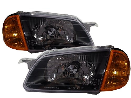 CrazyTheGod Familia BJ 1998-2000 Sedan/Wagon CRYSTAL Headligh Headlamp BLACK for MAZDA LHD (Mazda Familia Bj compare prices)