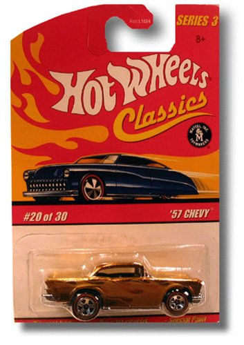 "Hot Wheels 2006 Classics Series 3 20 of 30 GREEN ""57 CHEVY RED LINE 1957 1:64 Scale Die-cast Body/chassis Special Paint"