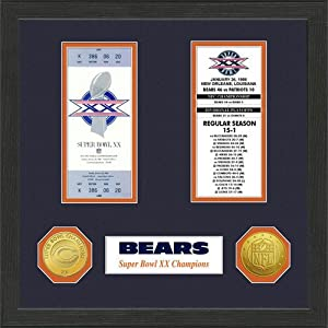 NFL Chicago Bears Super Bowl Ticket Collection Wall Frame