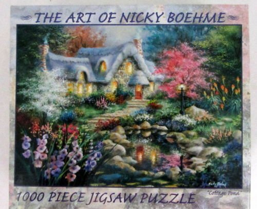 "The Art Of Nicky Boehme 1000 Piece Jigsaw Puzzle Cottage Pond 18"" x 25"" - 1"