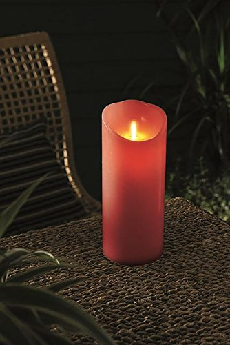 Battery Operated Red Pillar Candle with Flicker Flame Effect.