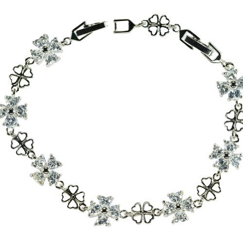Heyjewels Women's Silver Plated Crystal Clover Tennis Link Chain Bridal Bracelet Color Clear