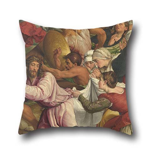 Oil Painting Jacopo Bassano - The Way To Calvary Cushion Covers ,best For Relatives,teens Girls,kitchen,monther,bar,sofa 16 X 16 Inches / 40 By 40 Cm(two Sides)