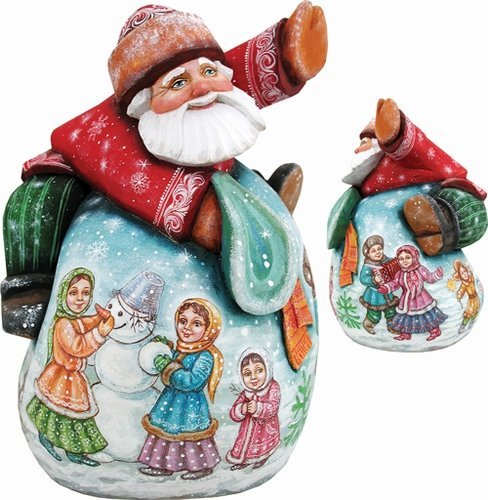 Bag of Fun Santa Lg, Handpainted Woodcarved Masterpiece
