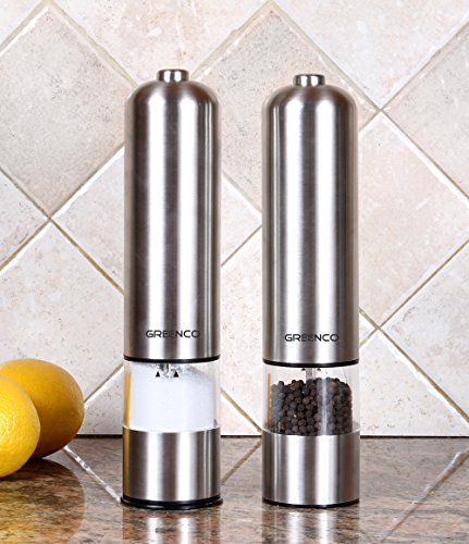 Greenco Automatic Electric Pepper Mill and Salt Grinder, Stainless Steel (Electric Sea Salt Grinder compare prices)