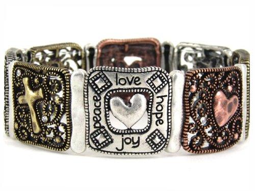 4030207 Christian Religious Scripture Love Bible Stretch Bracelet