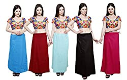 Pistaa combo of Women's Cotton Turquoise Blue, Deep Maroon, Sky Blue, Coca Cola and Dark Pink Color Best Indian Readymade Inskirt Saree petticoats