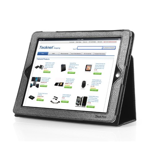 TeckNet iPad 2 Folio Leather Case Cover and Flip Stand For Apple iPad 2, With Magnetic Sleep Wake Sensor Feature - Black