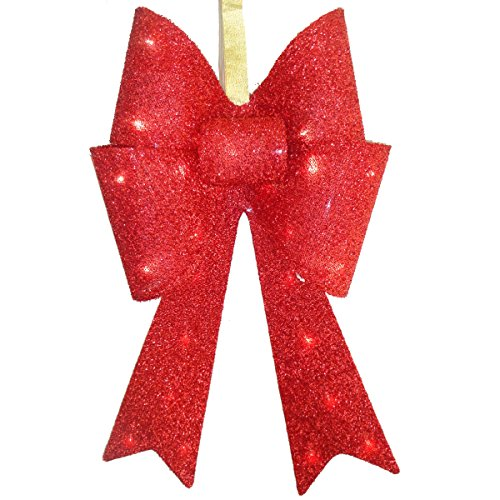 National Tree Red Tinsel Bow With 13 Warm White Led Lights, 20-Inch