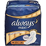 Always Maxi Unscented Pads with Wings, Overnight, 14 Count (Pack of 4)