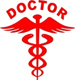 #5: CVANU (Pack of 2) Red Doctor car decal sticker(14.5Cm X 15.5 Cm)