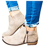Boots for Women Ankle Winter Low Heel Western Side Zipper Pointed Toe Solid Color