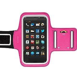 KHOMO Amazon Fire Phone Armband Case - Sweat Proof Sport Armband + Key Holder for Amazon Fire Phone - Pink