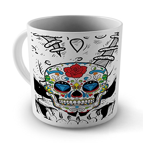 Sugar Skull Colour Tattoo Colourful Mug Cup Gift For Office Home Work