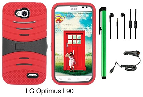 Premium Ucase With Kickstand Cover Case For Lg Optimus L90 (D415) (Us Carrier: T-Mobile) + Car Charger + 3.5Mm Stereo Earphones + 1 Of New Assorted Color Metal Stylus Touch Screen Pen (Red / Black)