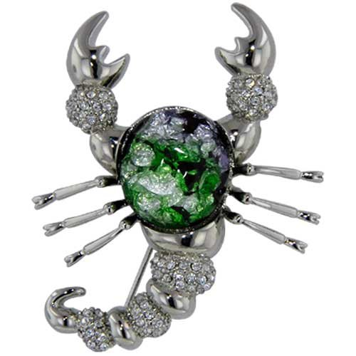 Pugster Green Scorpion Animal Brooches Pin