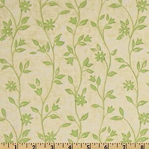 MeadowlarkStem Flowers Ecru/Sage Fabric By The YD