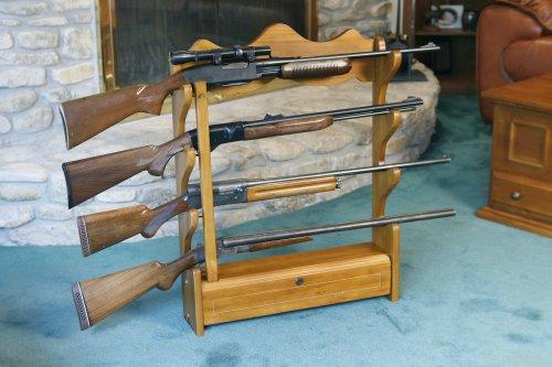 American Furniture Classics 840 4 Gun Wall Rack, Medium Brown (Gun Rack Wood compare prices)