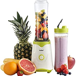 VonShef Personal Sports Blender, Smoothie & Shake Maker Machine, Free 2 Year Warranty, 300W - 2x BPA Free 600ML Bottles Included