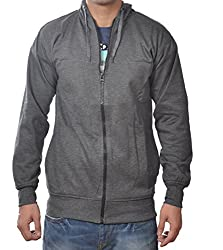 Vibgyor Full Sleeve Hooded Men's Dark Grey Sweatshirt