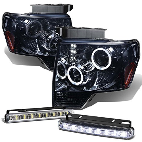 Ford F150 12th Gen Dual Halo Projector LED Smoke Lens Amber Corner Headlight+DRL 8 LED Fog Light (2011 Ford F150 Halo Headlights compare prices)