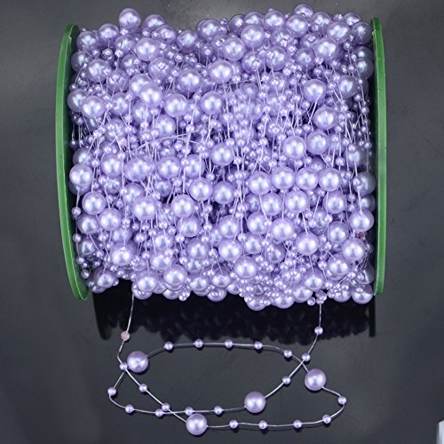 Hilitchi 200Feet Roll Ivory Pearl String Party Garland Wedding Centerpieces Bridal Bouquet Crafts Decoration (Purple)