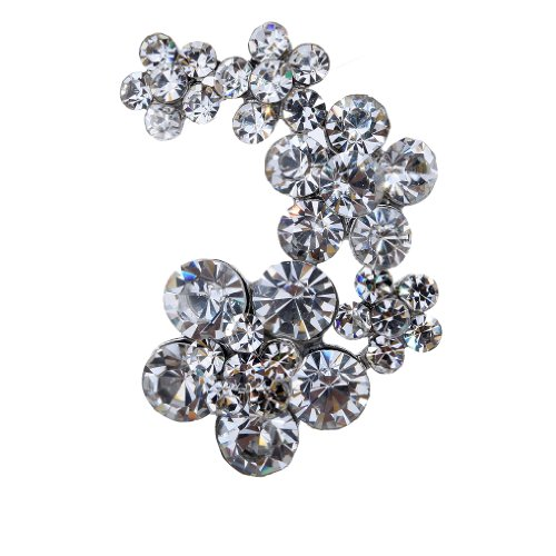 Yazilind Vintage Leaves Flower Clear Crystal Silver Plated Brooches And Pins For Wedding Bouquet