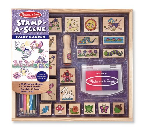 Melissa & Doug Stamp-a-Scene Stamp Pad: Fairy Garden - 20 Wooden Stamps 5 Colored Pencils and 2-Color Stamp Pad (Gifts For 4 Yr Old Girls compare prices)
