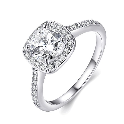 Naivo Gold Plated Crystal Stone Halo Setting Pave Band Engagement Ring Women's (1.90 carats) (White Gold, 6)