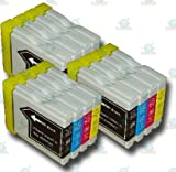 12 Chipped LC1000/LC970 Compatible Ink Cartridges for the Brother DCP-330C Printer