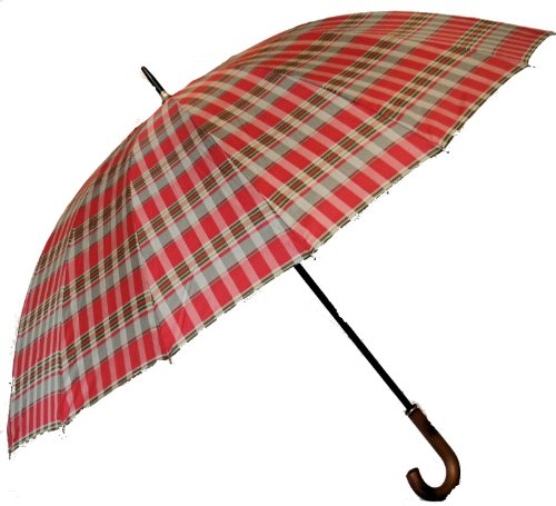 Jani Markel Mens Windproof Tartan Golf - Walking Umbrella Red/Grey