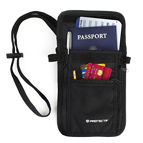 RFID Wallet for Men & Women - Hidden Neck Pouch with Multiple Compartments for Passports Cell Phones Credit Cards ID and Cash (Rfid Container compare prices)