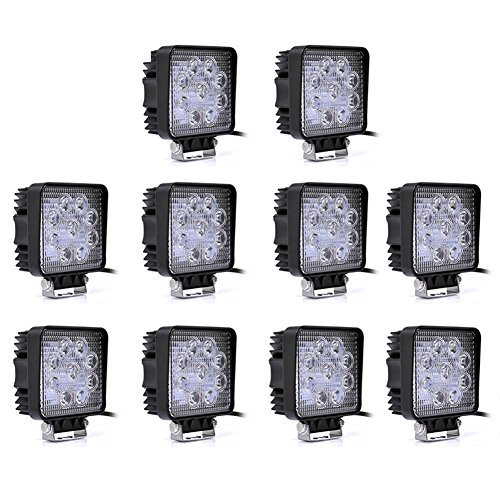 Willpower 10pcs 4 Inch 27w Square Spot LEd Work Lamp Light 2700 Lumen Truck Trailer Offroad Light Driving Lamp Waterproof For Utv 4x4 4wd Atv Jeep Tractor SUV Boat Sand Rail Motorbike Motorcycle (35 Watt 18650 compare prices)