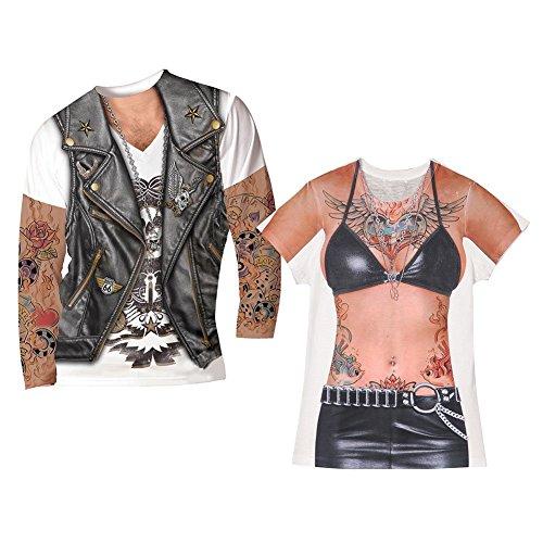 Unisex-Adult Couples Tattoo Biker Tee Set- Xl Men's Shirt & Large Women's Shirt (Hilarious Halloween Costumes For Couples)