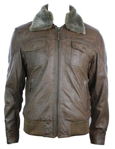 Mens Real Leather Jacket Bomber Real Fur Collar Aviator Brown Vintage Look