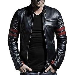 V4M Mens New Red Stripe Rider Genuine Leather Jacket (L)