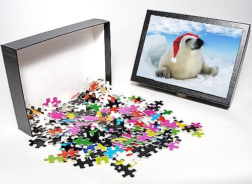 Photo Jigsaw Puzzle Of Harp Seal Baby - Lying On Ice, Wearing Christmas Hat front-928482