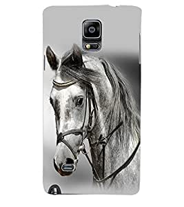 ColourCraft White Horse Back Case Cover for SAMSUNG GALAXY NOTE 4