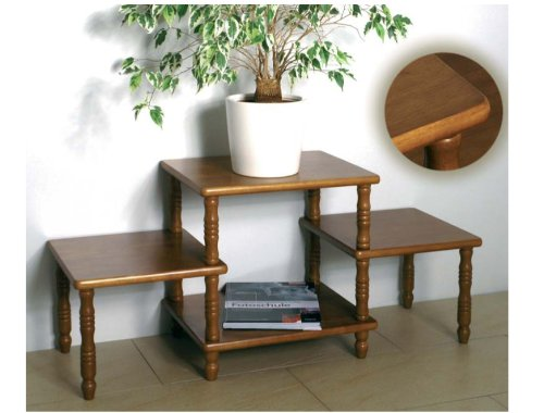 HALL: Rustic Oak 4 Tier Flower Column, Plant Stand / Side / Telephone Table