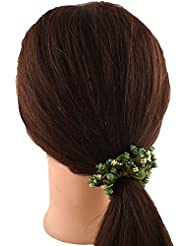 Anuradha Art Green Colour Crystal Beads Designer Hair Accessories Hair Band Stylish Rubber Band For Women/Girls
