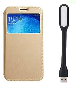 Novo Style Samsung GalaxyA5 Window View Premium Folio Flip Cover Case W Stand View+ Mini USB LED Light Adjust Angle / bendable Portable Flexible USB Light