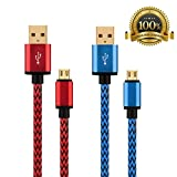 [2 Pack]S7 Edge Micro USB Cable Nylon Braided Gold Plated, High Speed Fast Charging Chord for Samsung Galaxy / Edge, Kindle Fire, HTC, LG. ,High Quality- Guaranteed Satisfaction.[Red/Blue]