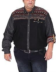 Xmex Men's Cotton Shirt (KR-702BLK, Black, XX-Large)