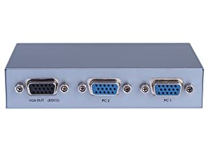 DTECH 2 Port VGA Switch Box 2 Input 1 Out Video Switcher for 2 PCs Share 1 Monitor Supports 1920x1440 Resolution