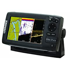 Lowrance 000-10967-001 Elite-7 HDI Chartplotter Fishfinder with Basemap and 50 200-455 800 KHz Transom Mount Transducer by Lowrance