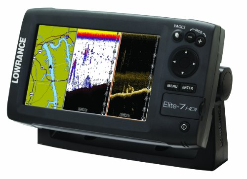 Lowrance 000-10967-001 Elite-7 HDI Chartplotter/Fishfinder with Basemap and 50/200-455/800 KHz Transom Mount Transducer