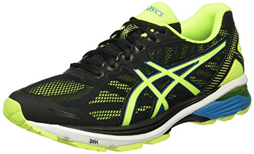 Asics Gt-1000 5, Scarpe Running Uomo, Nero (Black/Safety Yellow/Blue Jewel), 46 EU