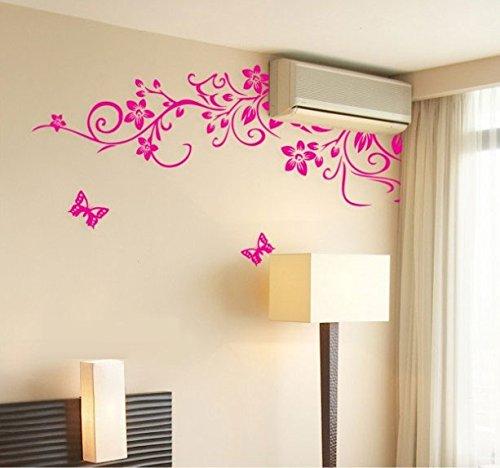Oren Empower Oren Empower Pink Flower Branch With Beautiful Butterflies Large Wall Stickers x 75 cm)