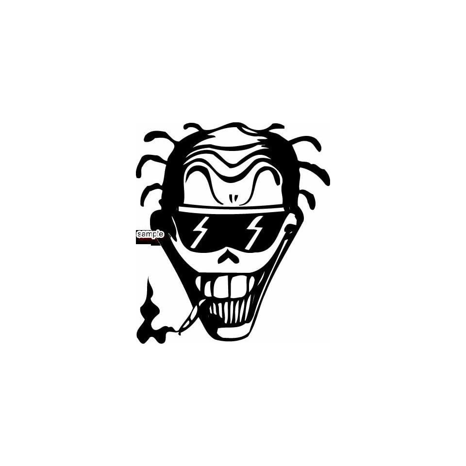 smiling skull smoking cigarette with shades skull white vinyl decal